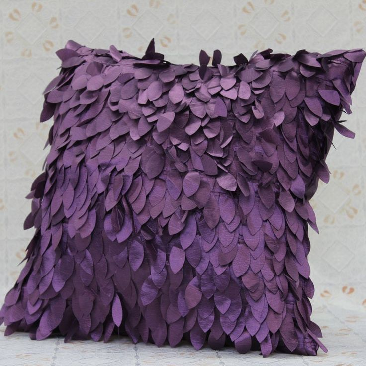 2017 Hot 45cm 2pieces Lot Purple Cushion Cover Sofa Pillow Embroidery