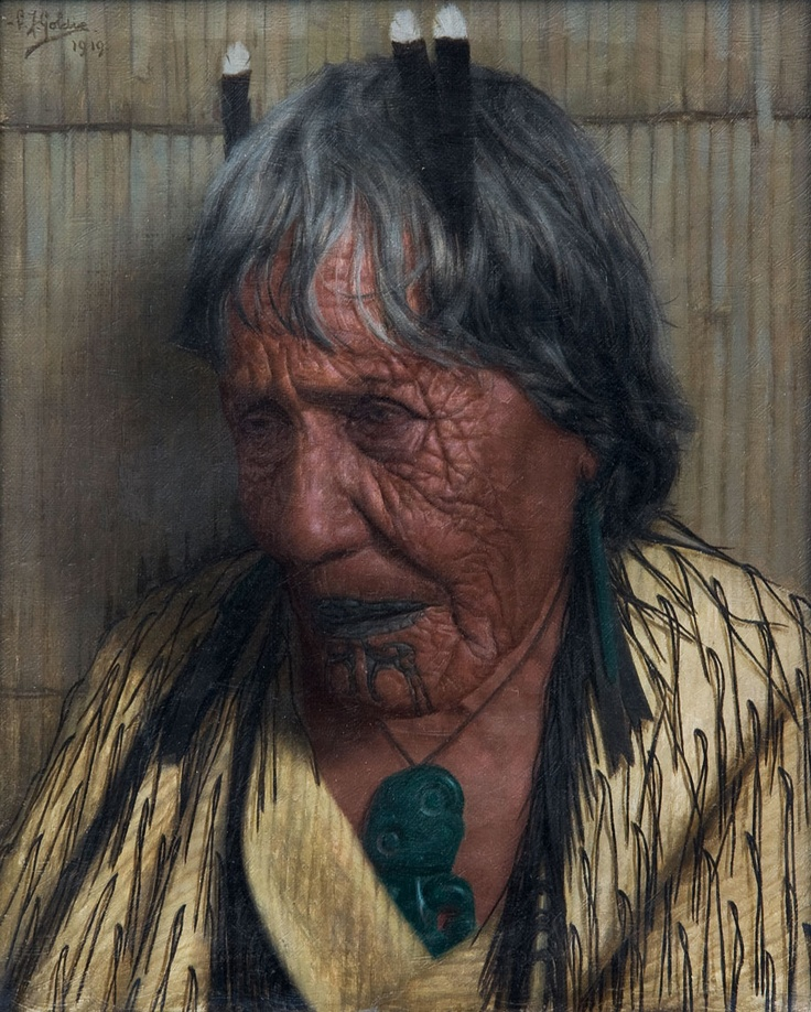 """Charles Frederick Goldie  """"Te Aitu Te Irikau (An Arawa Chieftainess)""""  oil on stretched canvas, in original rough cut Kauri frame   signed C F Goldie and dated 1919in brushpoint upper left   270mm x 215mm"""