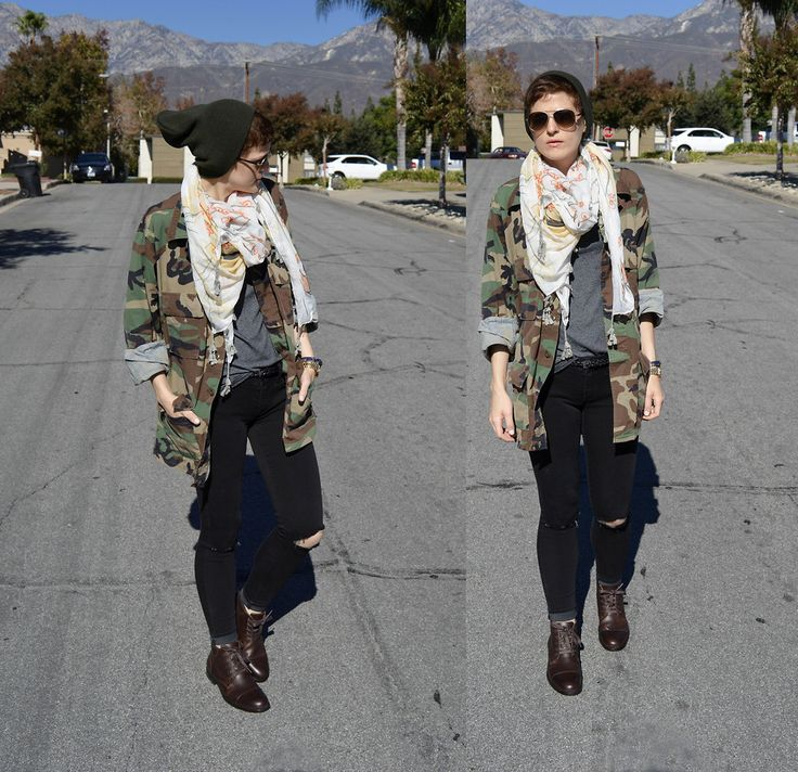 http://www.petite-fantome.blogspot.com #camo #military #scarf #basic #casual #tomboy #androgynous #simple #casual #basic #neutral