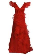 Artwedding Cap Sleeved Tiered Ruffle Mother of Bride Dress with Sweep Train,Red