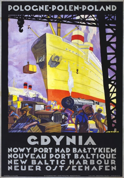 Vintage Gdynia Baltic Port Poland Polish Classic Travel Poster