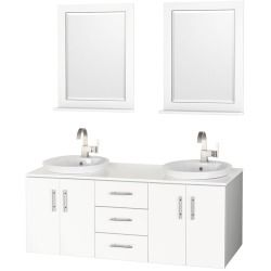 "Cheap deals for Arrano 55"" Double Bathroom Vanity – White with Semi-Recessed Sinks Online Don't miss Special offer"