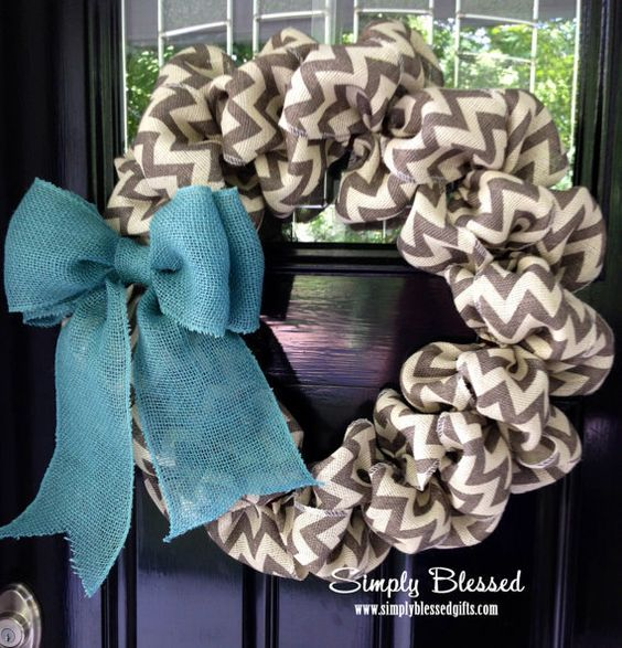 Chevron Burlap Wreath for front door or accent - Teal, White, Gray, and Natural - Spring, Winter, Summer
