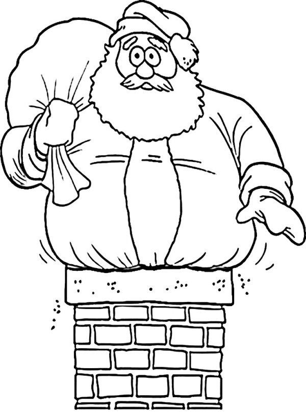 Santa Stuck On Chimney Christmas Coloring Page Santa Coloring Pages