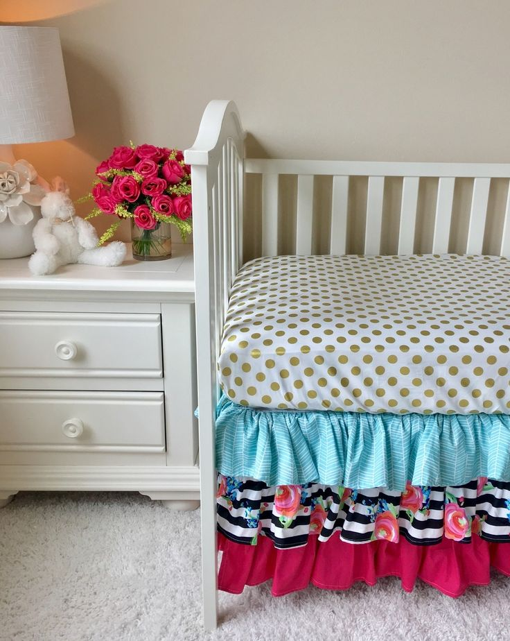 Aqua, Watercolor Floral Stripe, And Hot Pink Ruffled Crib Skirt