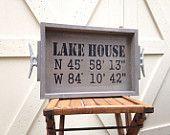 Lake House GPS Coordinates Wooden Tray - nautical tray with dock cleats, GPS Coordinates Gift, Nautical Wedding decor, lake house decor