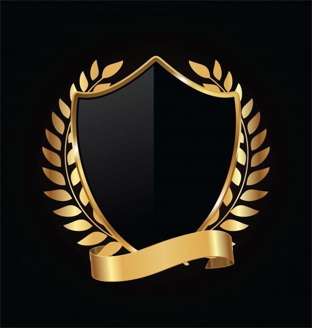 Khiên vàng và đen với vòng nguyệt quế vàng Premium Vector
