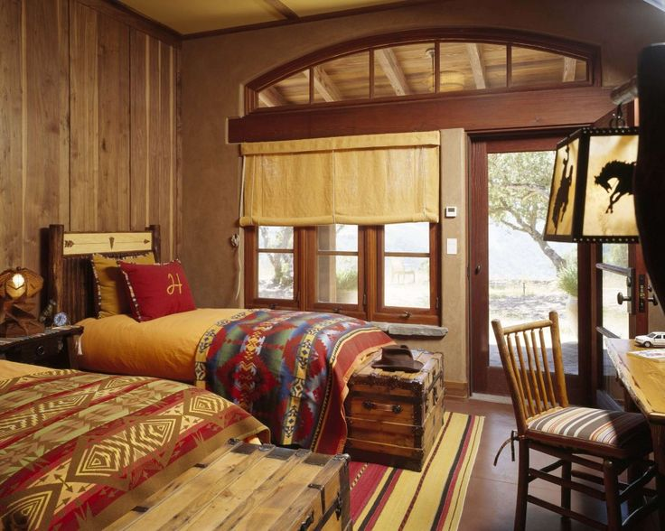 How to Create Your Rustic Bedroom Look Stunning: Rustic Bedroom Ideas And Window Treatments Ideas In Southwestern Kids Design Ideas With Front Door Decorating Ideas And Colorful Bedding Also Wood Paneling ~ franklester.com Bedroom Inspiration