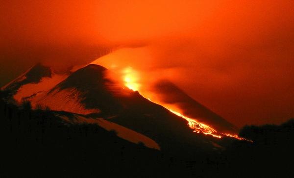 Lava flow on Mt. Etna in Sicily