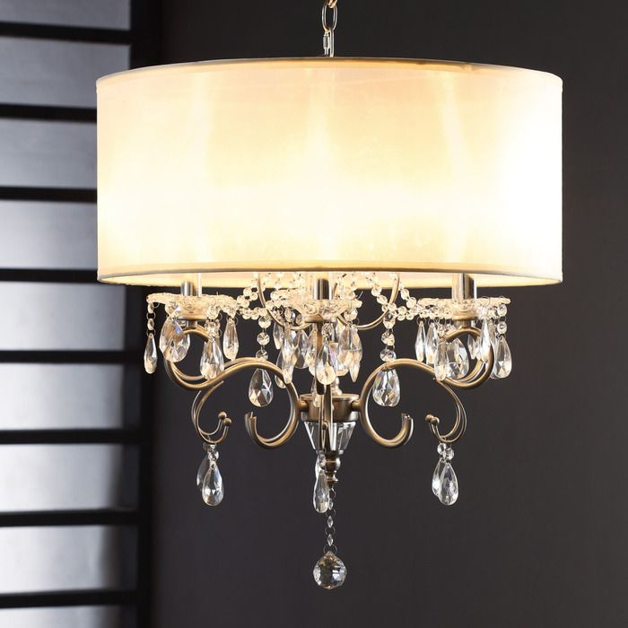 """22"""" Sparkling crystal beads and cream faux silk define this dreamy chandelier."""