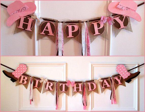 Cowgirl Happy Birthday Banner di LaLaLissyLou su Etsy
