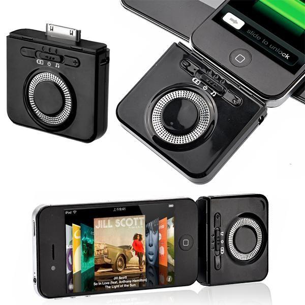 2-en-1 1900mAh cargador de batería externo con altavoces y soporte para iPhone iPod (Negro)