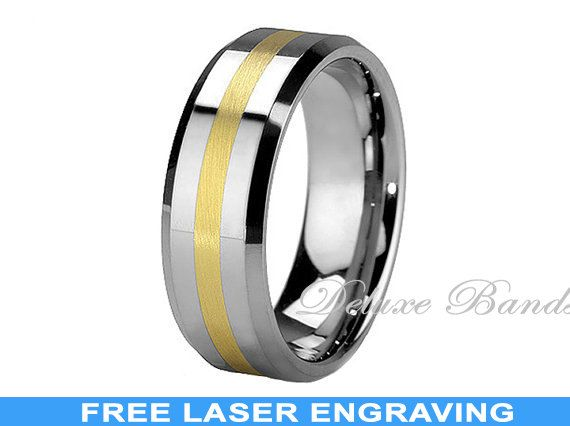 Tungsten Wedding Band,Two Tone Tungsten Wedding Ring,Yellow Gold Plated Inlay,Tungsten Anniversary Band,Gold Inlayed Tungsten Wedding Ring