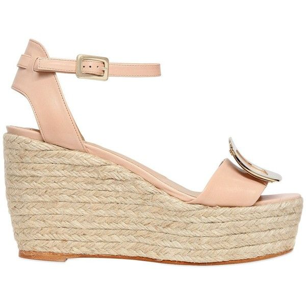 Roger Vivier Women 90mm Leather & Rope Espadrilles Wedges ($490) ❤ liked on Polyvore featuring shoes, sandals, nude, espadrille sandals, wedge shoes, leather platform sandals, nude wedge sandal and rope sandals