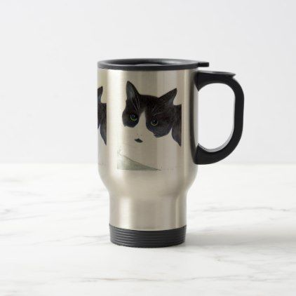 Black and White Cat Travel Mug - black and white gifts unique special b&w style