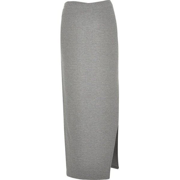 River Island Grey side split maxi skirt (66 CAD) ❤ liked on Polyvore featuring skirts, grey, maxi skirts, women, tall maxi skirt, beach maxi skirt, grey skirt, long skirts and beach skirt