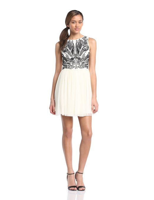 Lipsy Women's Cornelli mesh skirt dress Mini Dress, Multicoloured (Cream/Black), Size 8: Amazon.co.uk: Clothing