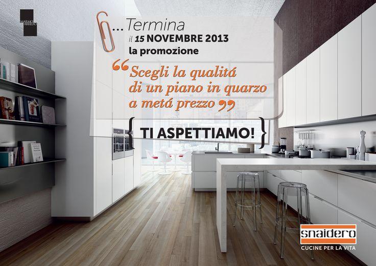 Fino al 15 Novembre 2013, con la speciale promozione Snaidero Cucine se scegli un piano di lavoro della Marmo Arredo hai il 50% di sconto sul prezzo di listino. Scopri l'offerta su http://www.snaidero.it/promozione-piani-marmo-arredo #promozioni #cucine #snaidero