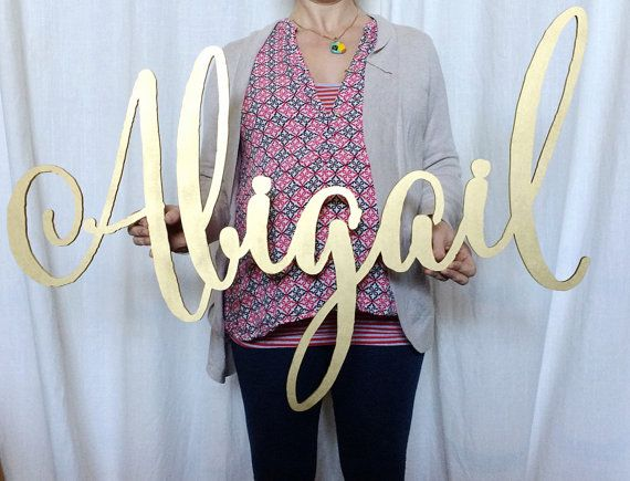 large laser cut name sign abigail calligraphy by TheGildedLine