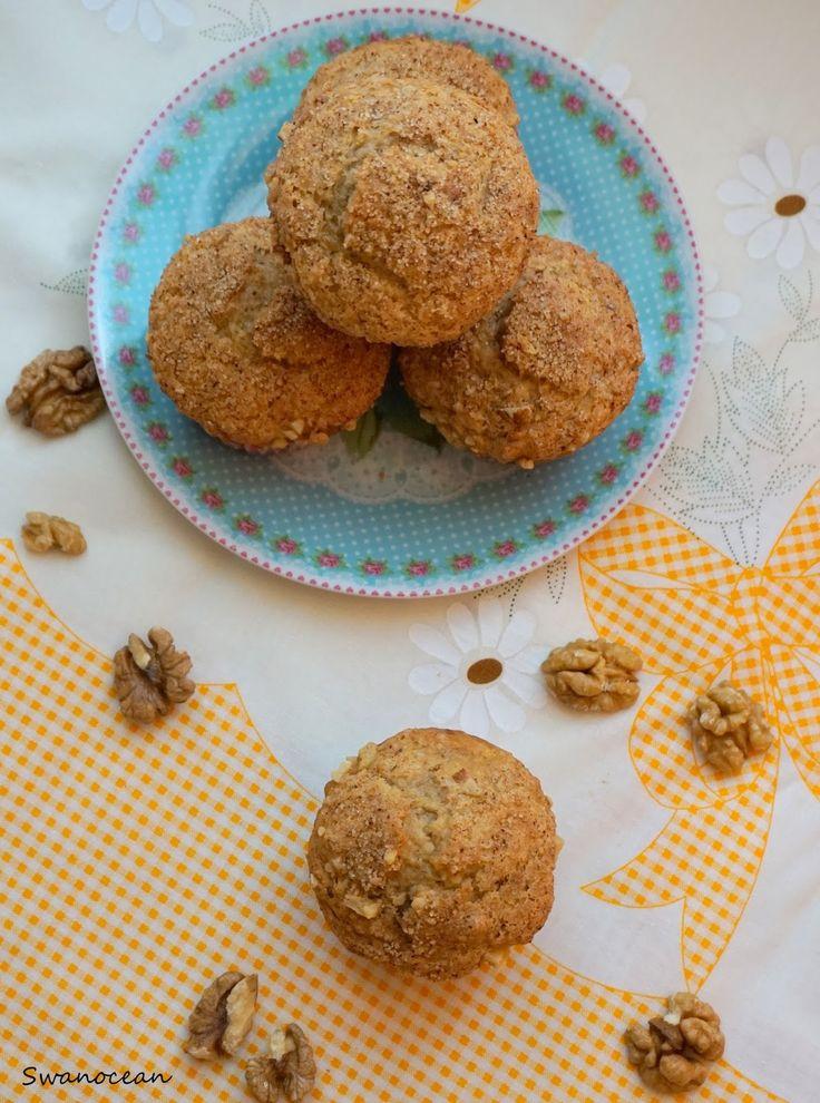 Swanocean: Banana nut muffins with cinnamon topping-Muffins μπανάνας με καρύδια και επικάλυψη κανέλας