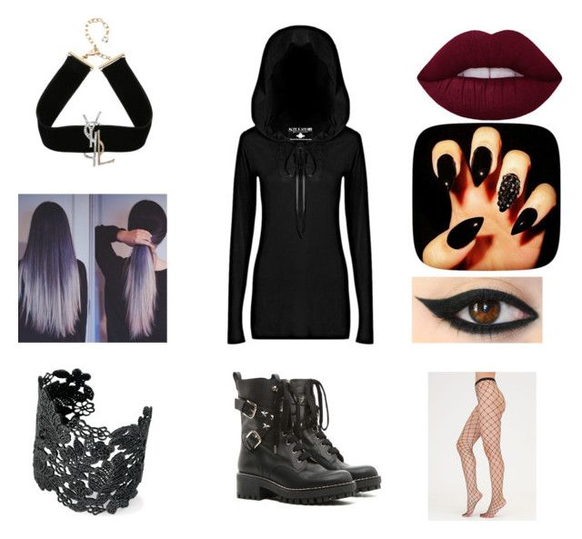"""Gothic Hoodie dress set"" by isabelegolia on Polyvore featuring Killstar, RED Valentino, Yves Saint Laurent and Stella & Dot"