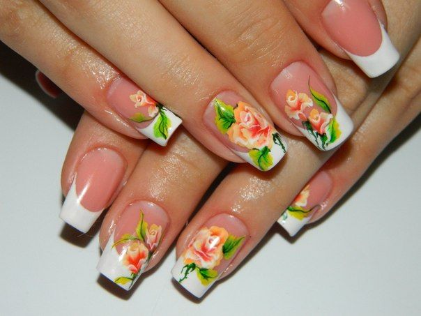 Floral french, Flower French nails, flower nail art, Flowers on nails, French manicure ideas, french manicure news 2016, French nails ideas, French news 2015