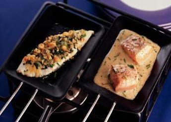 Gourmetten  Vis met een  hazelnotenkorstje