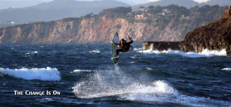 Strapless kitesurfing...