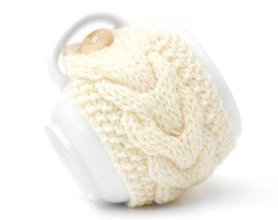 White Cream Aran Hand Knit Mug Warmer or by LittleButtonsAndBows, $8.00