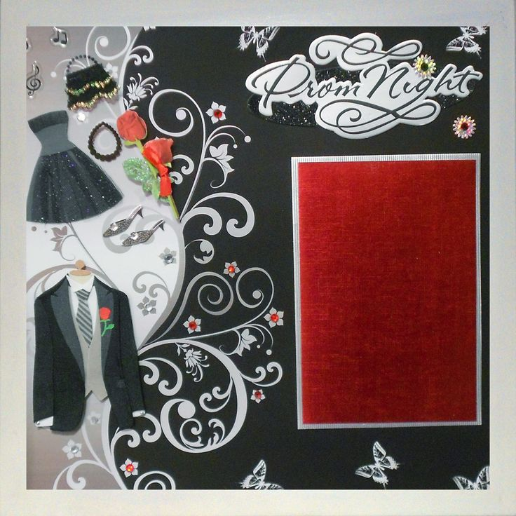 PROM NIGHT Premade Memory Album Page (Gallery Wood Shadow Box Frame Sold Separately) by theshadowbox on Etsy