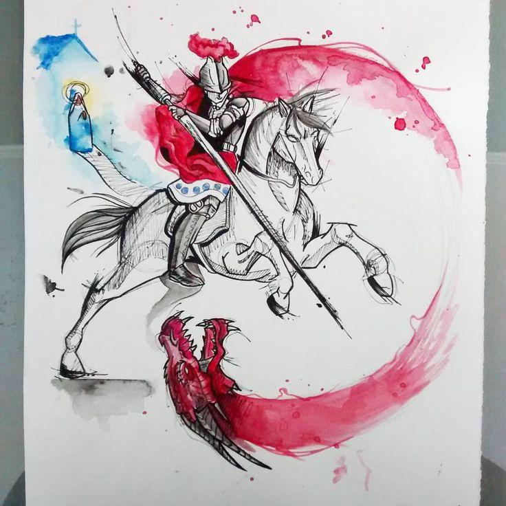 Arte desenvolvida para cliente. São Jorge e o dragão. Querendo uma tattoo exclusiva? Aquarela, sketch, trash? Entre em contato, venha conhecer o estúdio e agende seu horário. #roots #rootstattoo_oficial #draw #desenho #art #dragon #saojorge #tattoo...