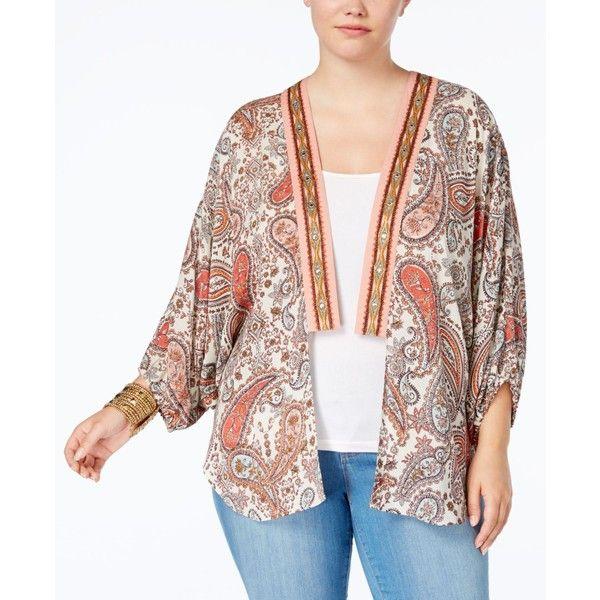 Eyeshadow Trendy Plus Size Printed Kimono Cardigan ($28) ❤ liked on Polyvore featuring plus size women's fashion, plus size clothing, plus size tops, plus size cardigans, multi, white kimono, white cardigan, kimono tops, plus size kimono cardigan and womens plus tops