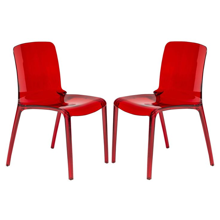 LeisureMod Laos Tranparent Red Dining Chair (Set Of 2) (Laos Tranparent Red  Modern