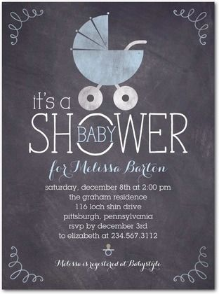 Baby Shower Invitations - Chalkboard Buggy: Stream by Tiny Prints