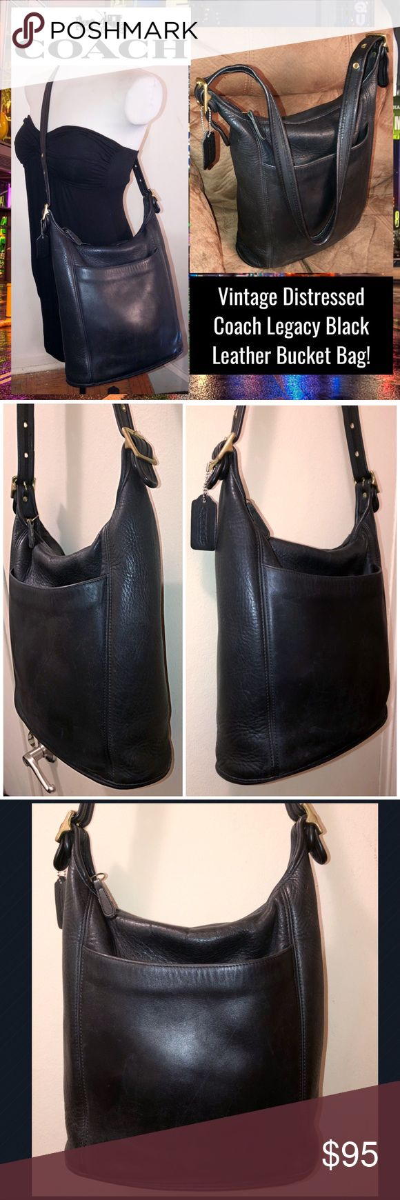 """VTG Distressed Coach Legacy Leather Bucket Bag! Vintage Distressed Coach Legacy Black Leather Bucket Bag! Features:100% authentic, front slip pocket, silver tone hardware, black leather, unlined, one int zip pocket, zip top closure & adjustable leather strap with Coach hang tag, creed & serial no. C9C-9060 on inside. Measures 14"""" high side, 11 1/2"""" high middle x 11"""" across x 4 1/2"""" wide with up to 18"""" clearance. Some minor exterior marks & natural variations in leather. VG condition. Offers…"""