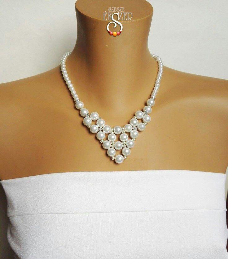 Etsy: EstherPearlShop, www.szeszeekszer.hu Beaded Jewelry , necklace, Wedding jewelry, Menyasszonyi ékszer, nyaklánc