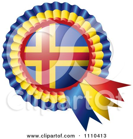 Clipart Shiny Aland Flag Rosette Bowknots Medal Award - Royalty Free Vector Illustration by MilsiArt