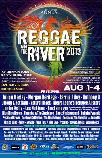 Reggae Posters | Reggae on the River / August 1 - 4, 2013 at French's Camp! / Roots ...