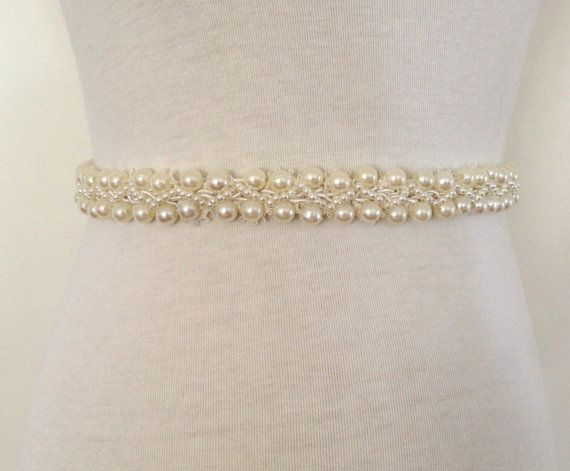 Ivory SashBride BeltBeaded Pearl BeltBridal by RoseybloomBoutique