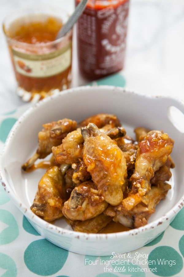 Sweet & Spicy Four Ingredient Chicken Wings | the little kitchen