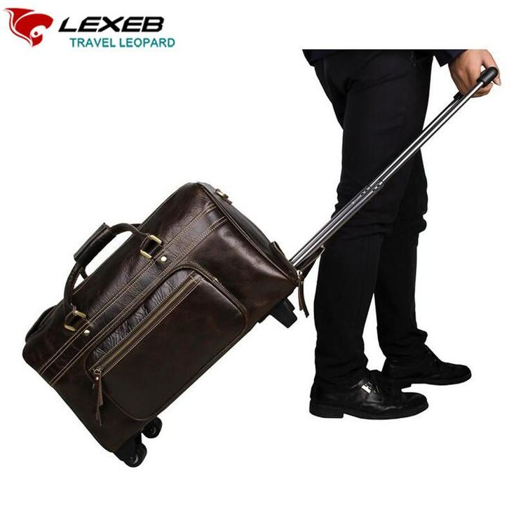 Travel Bag on Wheels Men Genuine Leather 21 Inch Coffee High Quality – Wallets & Bags