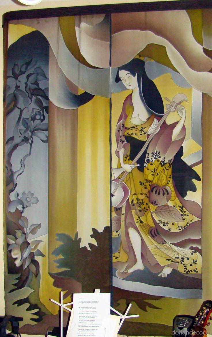 "Ирина Агалакова - ""Музицирование"". Штора на окно по мотивам японских гравюр. Роспись по натуралному шёлку. Размер - 2,5 X 1,8 м. Батик. Contemporary russian art."