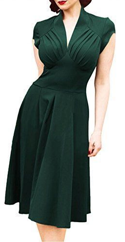 Ghope Femme Retro 50 Années Robe V-cou Manche Courte Rockabilly Cocktail Robe S… – KT BZH
