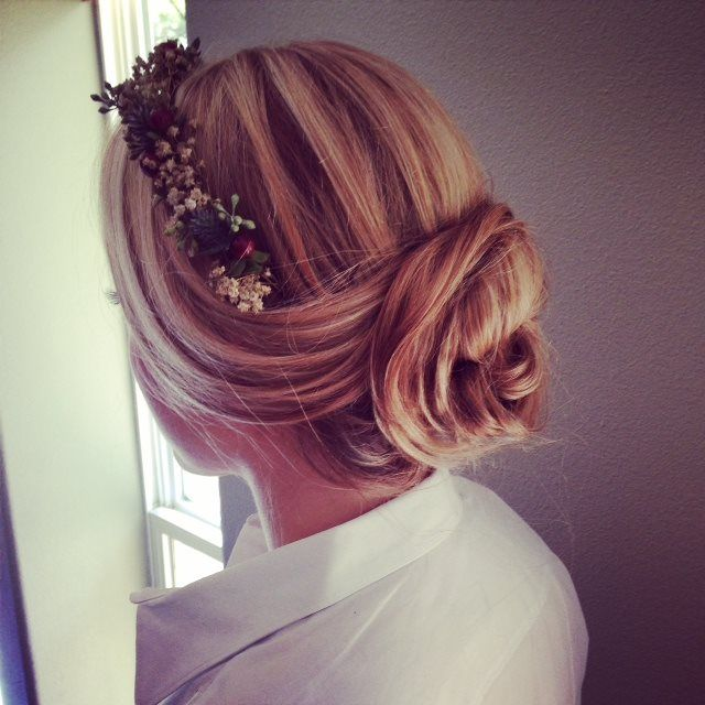 Hair: Michelle McMillan  #halfup #soft #bun #boho #romantic #waves  #weddinghair #bridalhairstyles #bridalhairstylist #updo #hairstyle  www.glitterknockout.com