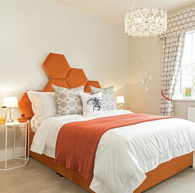 This Cala Homes Bedroom Includes A Unique Hexagon Shaped Orange