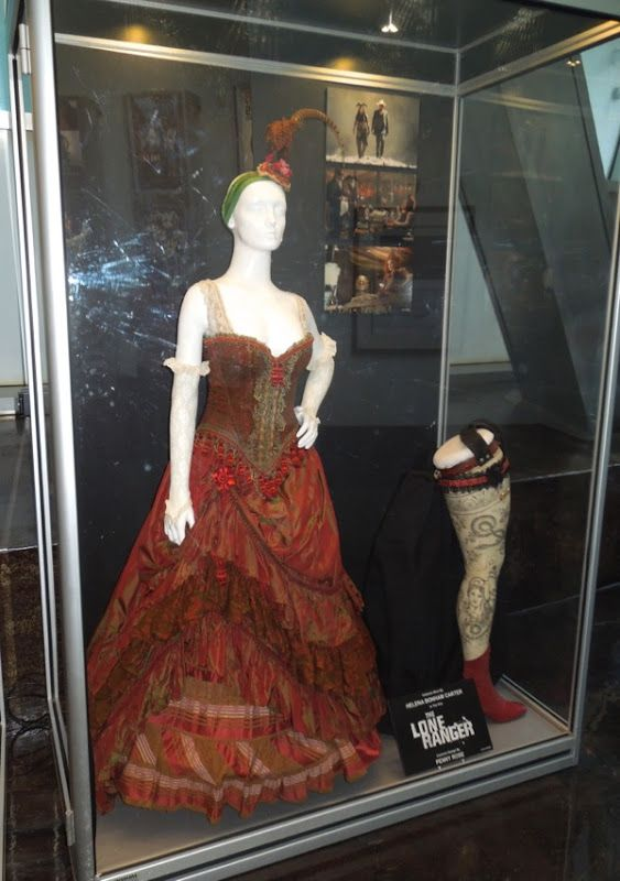 Original costumes from Disney's The Lone Ranger on display - including Helena Bonham Carter's Red Harrington dress...