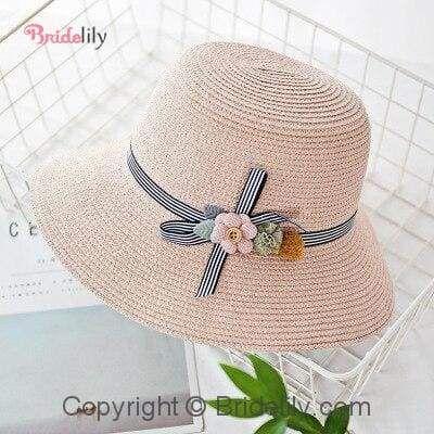 Solid Plain Straw Wide Brim Flowers Beach/Sun Hats   Bridelily – Beach/Sun Hats