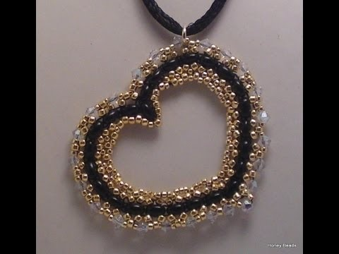 Beaded Heart Pendant for Valentine's Day with Twin beads Beading Tutorial