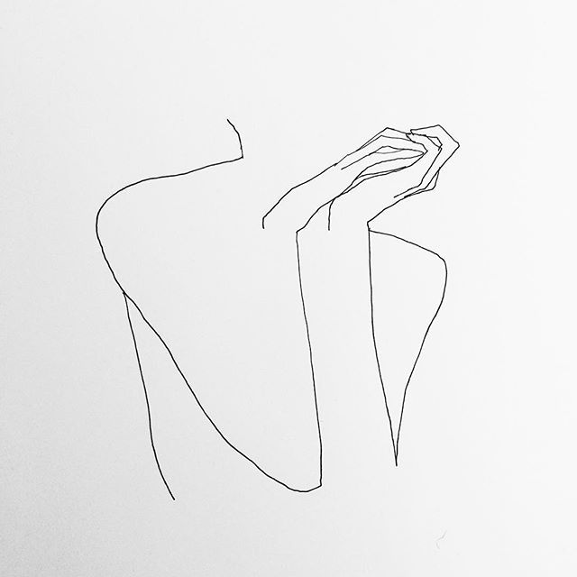'Woman Thinking' line drawing by Frederic Forest