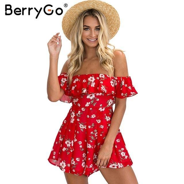 26c0e05da3f Off Shoulder Ruffles Print Jumpsuit Romper Women High Waist Chiffon Leotard Summer  Beach Overalls Boho Playsuit